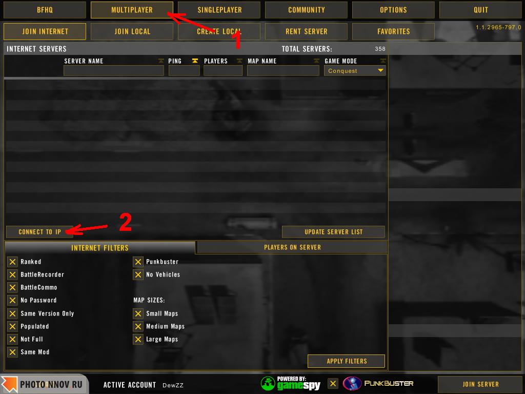 FAQ #5: Как создать онлайн аккаунт и подключиться к серверу в Battlefield 2? Игровое сообщество - BATTLEFIELD CLUB